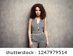 fashion model girl with afro... | Shutterstock . vector #1247979514