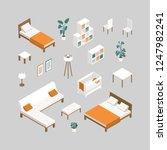 set of furniture for bedroom ...   Shutterstock .eps vector #1247982241
