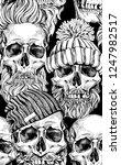 seamless pattern. human skulls...   Shutterstock .eps vector #1247982517