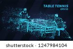 table tennis of blue glowing... | Shutterstock .eps vector #1247984104