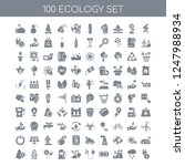 100 ecology universal icons... | Shutterstock .eps vector #1247988934