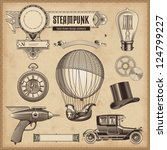 Stock vector vector set steampunk design elements 124799227
