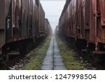 old train wagons parked in the... | Shutterstock . vector #1247998504