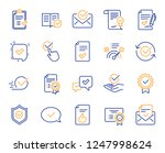 approve line icons. set of... | Shutterstock .eps vector #1247998624