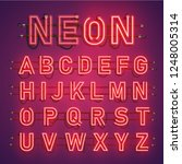 realistic neon font with wires... | Shutterstock .eps vector #1248005314