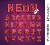 realistic neon font with wires... | Shutterstock .eps vector #1248005344
