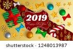 happy new year 2019  xmas balls ... | Shutterstock .eps vector #1248013987