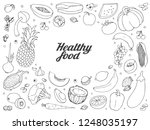 vector hand drawn fruits and... | Shutterstock .eps vector #1248035197