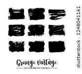 set of black brush stroke and... | Shutterstock .eps vector #1248041161