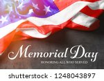 text memorial day and usa flag... | Shutterstock . vector #1248043897