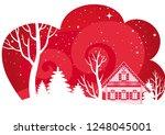 beautiful night winter... | Shutterstock .eps vector #1248045001