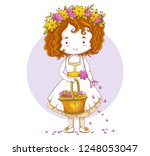 cute little bridesmaid... | Shutterstock .eps vector #1248053047