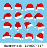 christmas santa claus caps set  ... | Shutterstock .eps vector #1248074617