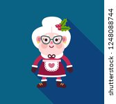 Mrs Claus Icon. Cute Happy...