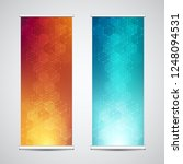 roll up banner stands with... | Shutterstock .eps vector #1248094531
