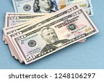 close up stack of fifty 50... | Shutterstock . vector #1248106297