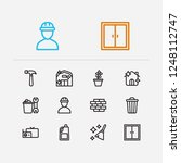 housework icons set. flower and ...