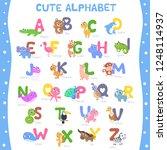 cute animal alphabet a z vector ... | Shutterstock .eps vector #1248114937