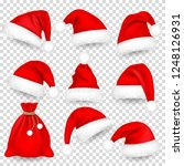 christmas santa claus hats with ... | Shutterstock .eps vector #1248126931