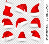 christmas santa claus hats with ... | Shutterstock .eps vector #1248126934