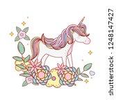 cute fairytale unicorn with... | Shutterstock .eps vector #1248147427