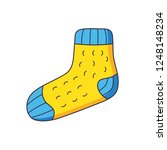 yellow blue sock isolated | Shutterstock .eps vector #1248148234