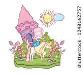 mermaid with unicorn and castle ...   Shutterstock .eps vector #1248162757