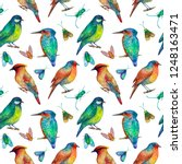 colorful birds and insects... | Shutterstock . vector #1248163471