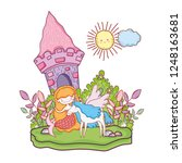 mermaid with unicorn and castle ...   Shutterstock .eps vector #1248163681