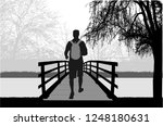 silhouette of a man with... | Shutterstock .eps vector #1248180631