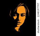 woman face in contrast light.... | Shutterstock .eps vector #1248197797