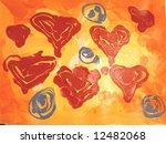 Oringinal Acrylic Abstract Expressionist Painting Print - stock photo