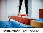 Young Gymnast Balancing On A...