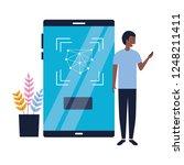 man using mobile biometric face ... | Shutterstock .eps vector #1248211411