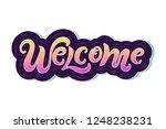 handwriting lettering welcome...   Shutterstock .eps vector #1248238231