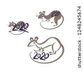 rat 2020. simple drawn symbols... | Shutterstock .eps vector #1248245674