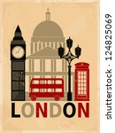 retro style poster with london... | Shutterstock . vector #124825069