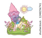 castle with unicorn and fairy...   Shutterstock .eps vector #1248256741