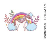cute unicorn with clouds and... | Shutterstock .eps vector #1248265471