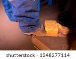 miner wearing safety steel cap... | Shutterstock . vector #1248277114