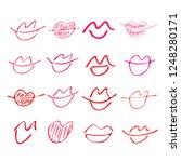 set of hand drawn lipstick kiss ... | Shutterstock .eps vector #1248280171