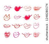 set of hand drawn lipstick kiss ... | Shutterstock .eps vector #1248280174