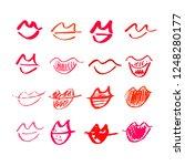 set of hand drawn lipstick kiss ... | Shutterstock .eps vector #1248280177
