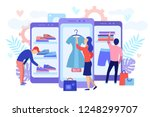 mobile shopping consept. a men... | Shutterstock .eps vector #1248299707