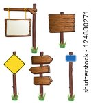 set of wooden road signs | Shutterstock . vector #124830271