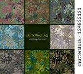 set of nine seamless camouflage ...   Shutterstock .eps vector #124832131