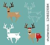 set of christmas reindeer in... | Shutterstock .eps vector #1248325084