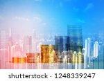 double exposure of coin stack... | Shutterstock . vector #1248339247