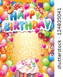 template for happy birthday... | Shutterstock .eps vector #124835041