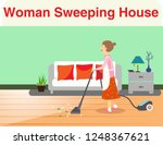 woman sweeping house | Shutterstock .eps vector #1248367621